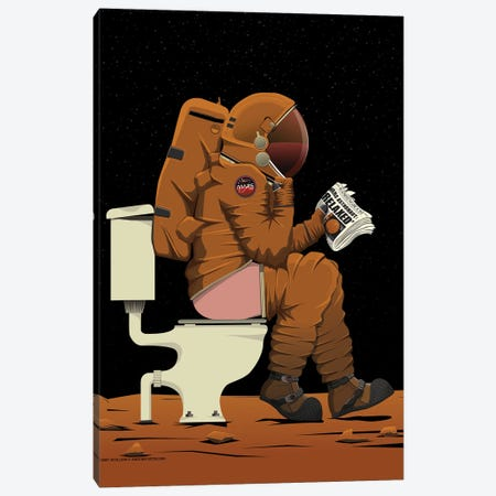 Mars Astronaut On The Toilet Canvas Print #WYD41} by WyattDesign Canvas Art