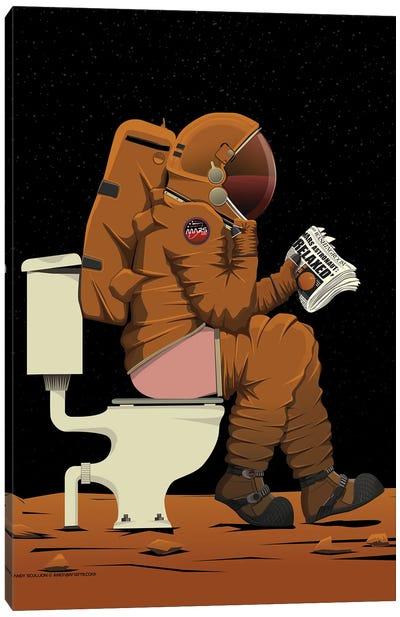 Mars Astronaut On The Toilet Canvas Art Print