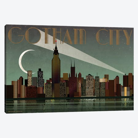 Gotham City Skyline Canvas Print #WYD44} by WyattDesign Art Print