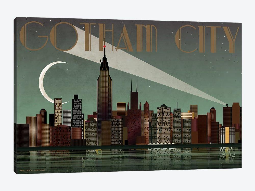 Gotham City Skyline by WyattDesign 1-piece Canvas Art