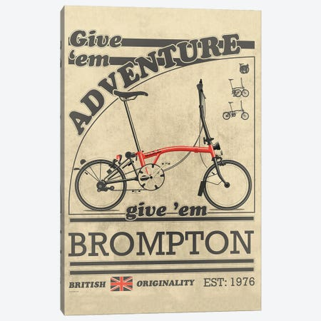 Brompton Bicycle Vintage Advert Canvas Print #WYD45} by WyattDesign Art Print