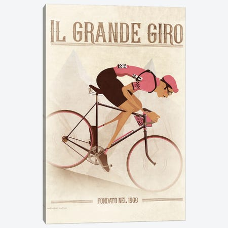 Giro D'Italia Vintage Cycling Tour Canvas Print #WYD48} by WyattDesign Canvas Artwork