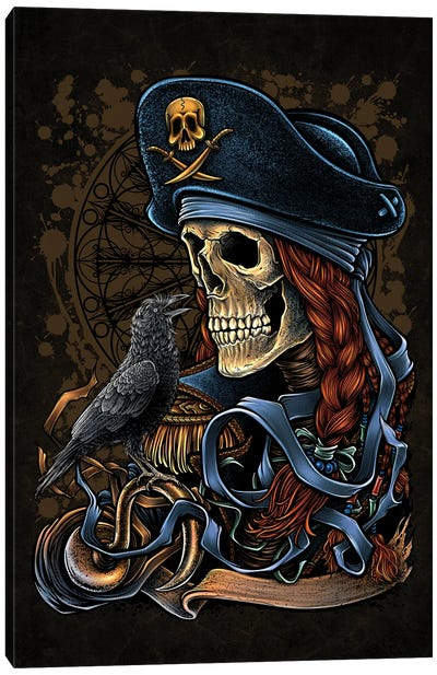 Dead Pirate And The Crow Canvas Art Print