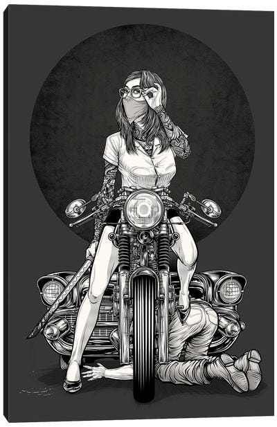Girl And Motorcycle Canvas Art Print