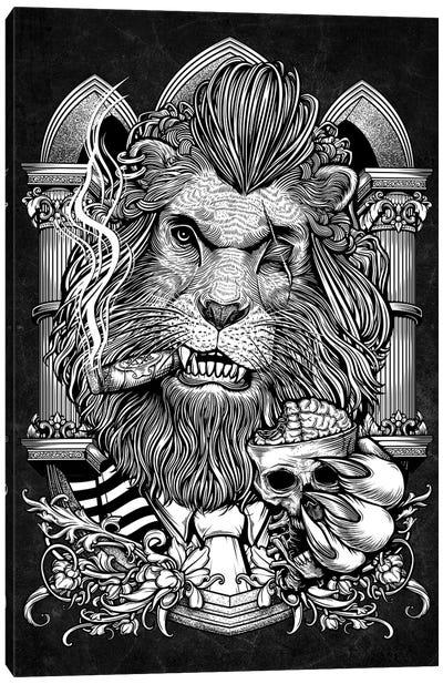 Mafia Lion Smoking Cigar And A Cup Of Brain Canvas Art Print