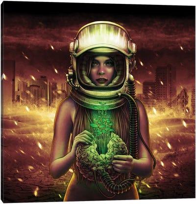Girl Astronaut Holding Plant Canvas Art Print
