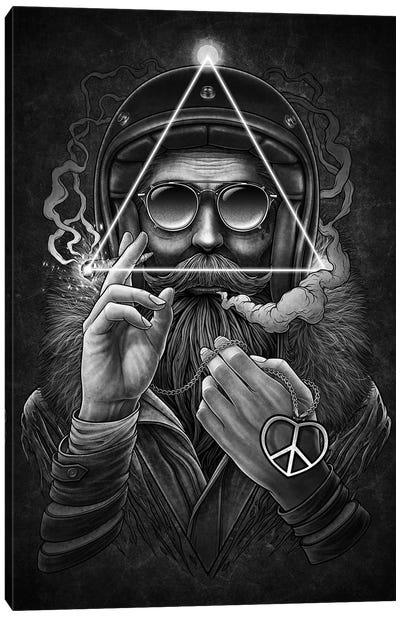 Man Smoking Wearing Sunglasses With Hispster Beard Canvas Art Print