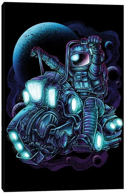Astronaut Riding Motorcycle Canvas Art Print