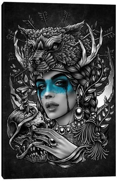 Native Woman With Human Skull Wearing Wolf Headdress Canvas Art Print
