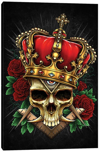 Skull With Crown And Roses Black Ground Canvas Art Print