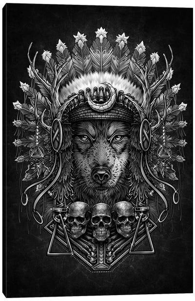 American Native Wolf Headdress Canvas Art Print