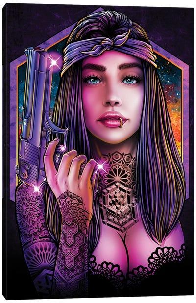 Badass Girl With Gun Canvas Art Print
