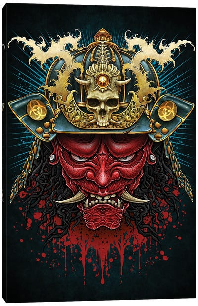 Red Oni Samurai Canvas Art Print