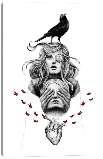 Raven Heart Canvas Art Print