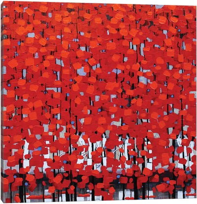 Rows Of Red Trees III Canvas Art Print