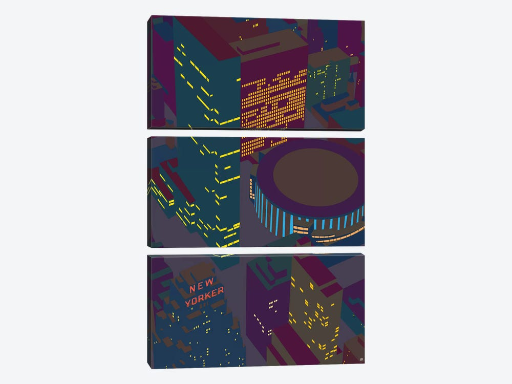 Madison Square Garden At Night by Yoni Alter 3-piece Canvas Print