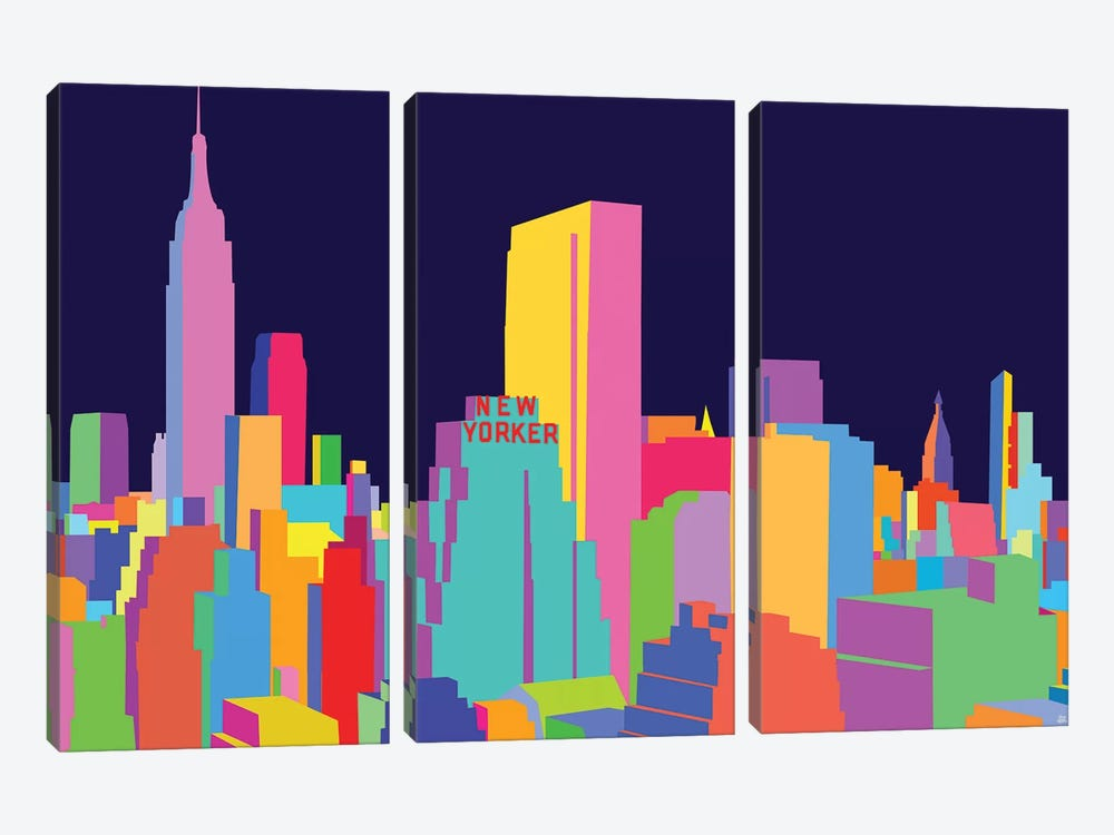 New Yorker And Empire State Building by Yoni Alter 3-piece Canvas Wall Art