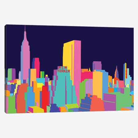 New Yorker And Empire State Building Canvas Print #YAL114} by Yoni Alter Art Print