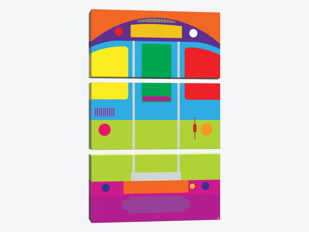 Tube Train by Yoni Alter 3-piece Canvas Print
