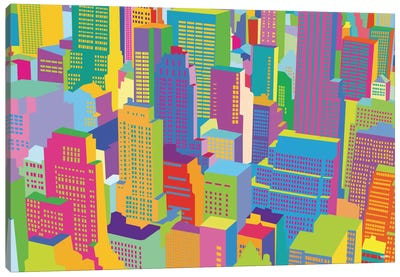 Cityscape Windows Canvas Art Print