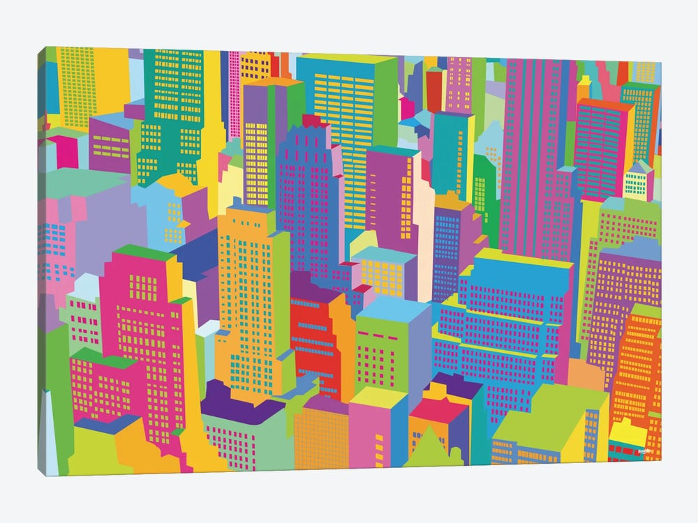 Cityscape Windows 1-piece Canvas Art Print