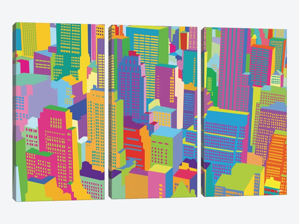 Cityscape Windows 3-piece Art Print
