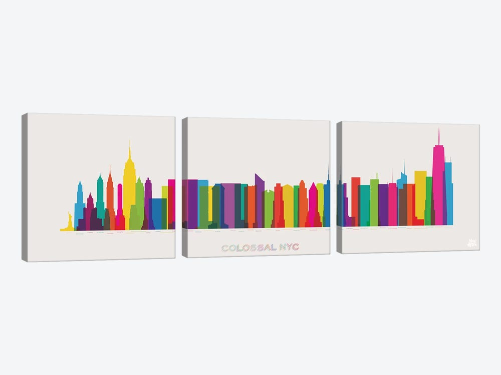 Colossal NYC by Yoni Alter 3-piece Canvas Wall Art