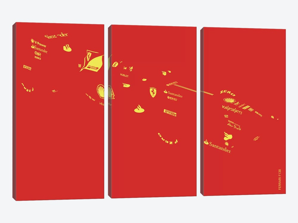F1-Ferrari by Yoni Alter 3-piece Canvas Artwork