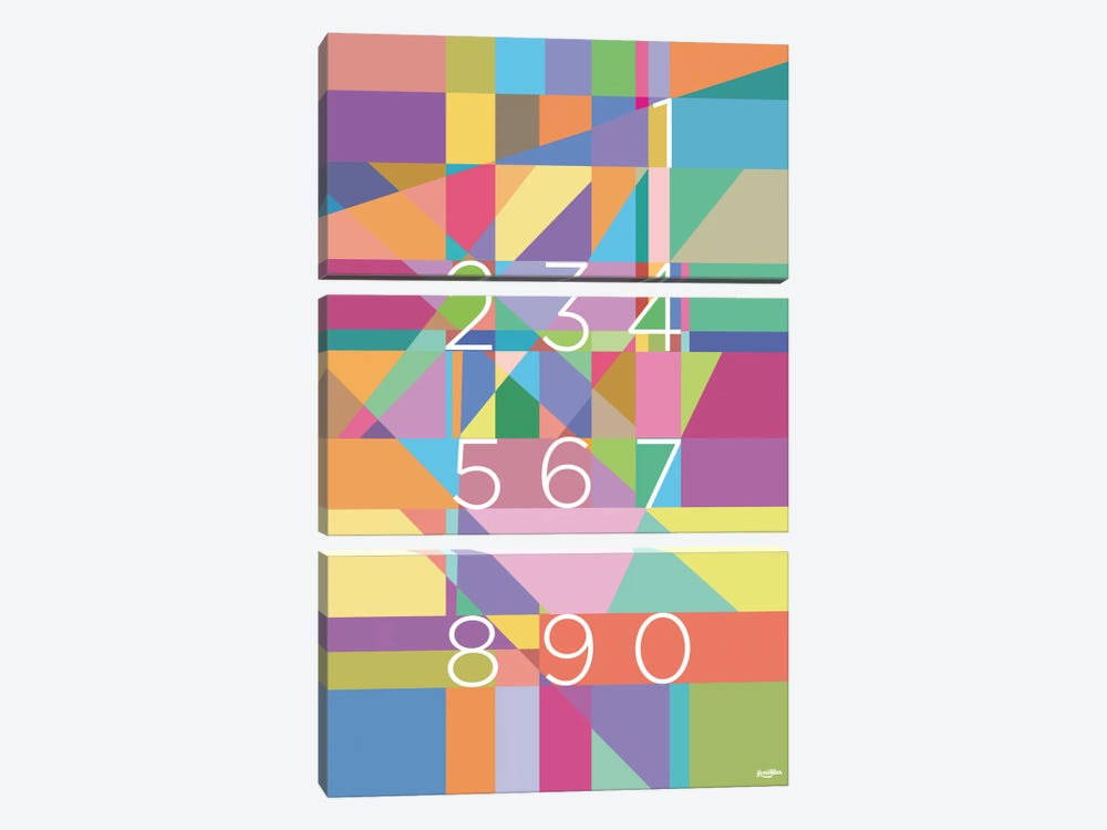 Numbers by Yoni Alter 3-piece Canvas Art Print