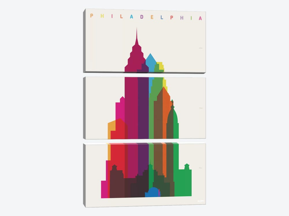 Philadelphia by Yoni Alter 3-piece Canvas Wall Art