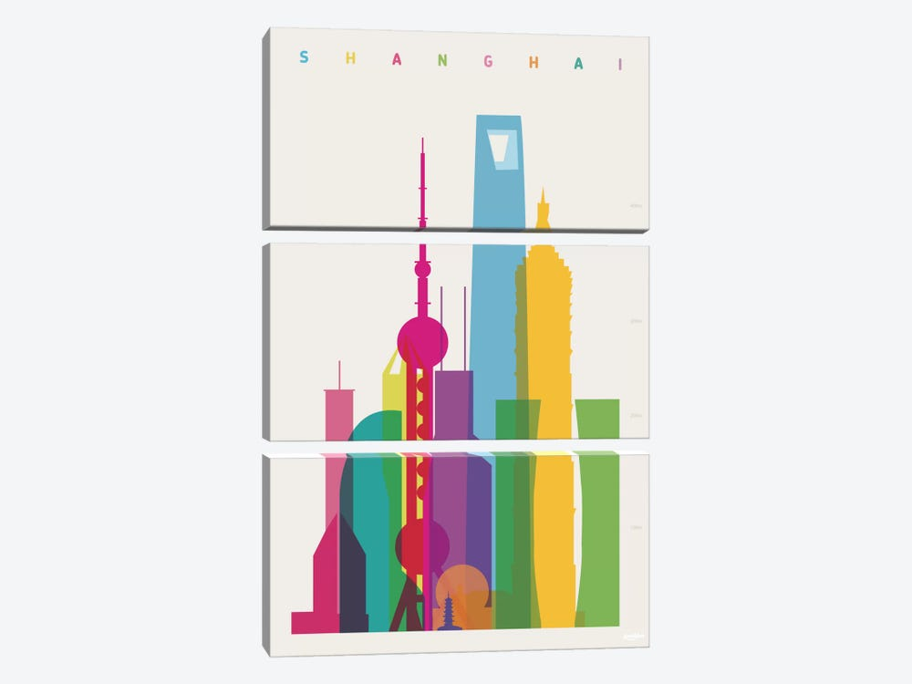 Shanghai by Yoni Alter 3-piece Canvas Artwork