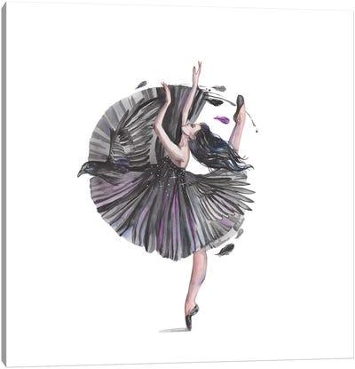 Black Ballerina And Raven Canvas Art Print