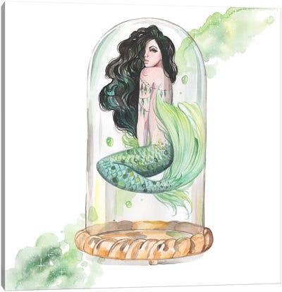 Green Mermaid Watercolor Canvas Art Print