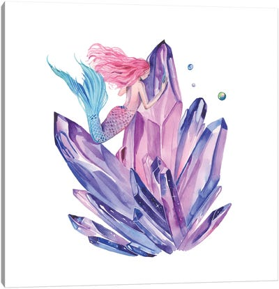 Pink Mermaid And Amethyst Crystals Canvas Art Print