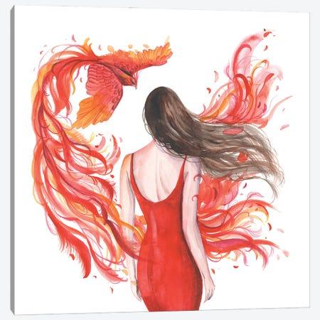 Woman And Phoenix Firebird Canvas Print #YAN37} by Yana Anikina Canvas Print