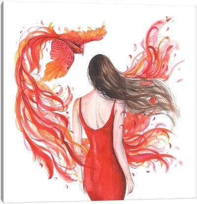 Woman And Phoenix Firebird Canvas Art Print