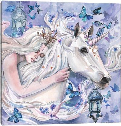 Princess And White Unicorn Canvas Art Print