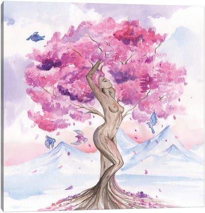 Goddess Of The Cherry Tree Or Mother Nature Canvas Art Print