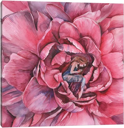 Woman And Red Peony Flower Canvas Art Print