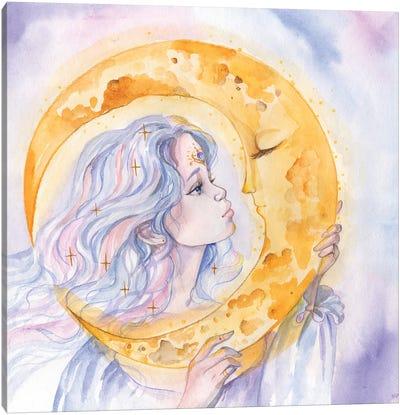 Moon Goddess And Moon Canvas Art Print