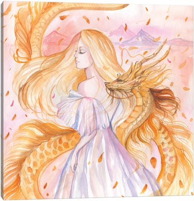 Woman And Golden Dragon Canvas Art Print