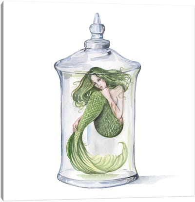 Green Mermaid In A Glass Bottle Canvas Art Print
