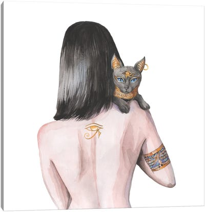 Egyptian Goddess Nefertiti And The Cat Bastet Canvas Art Print
