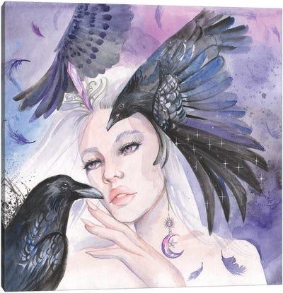Night Goddess Nyx And Black Raven Canvas Art Print