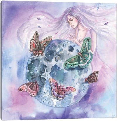 Moon Goddess Selena And Moths Canvas Art Print