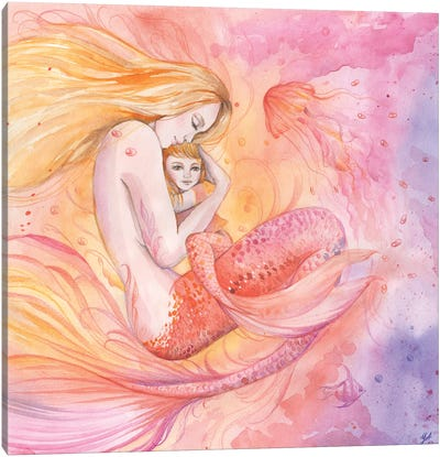 Family Mother And Daughter Of A Mermaid Canvas Art Print