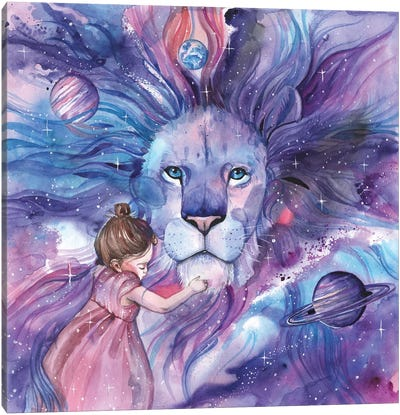 Space Lion And Girl Canvas Art Print