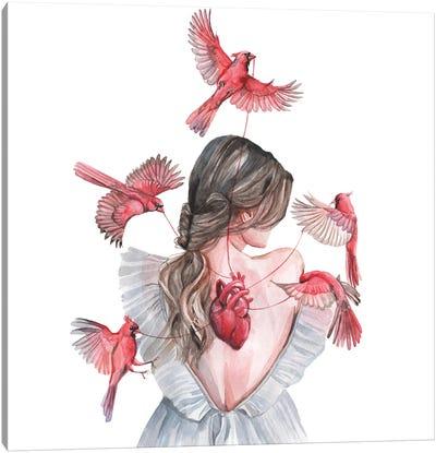 Woman And Birds Red Cardinal Canvas Art Print