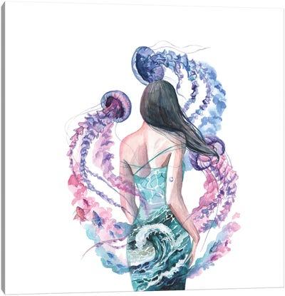 Woman, Sea And Jellyfish Canvas Art Print