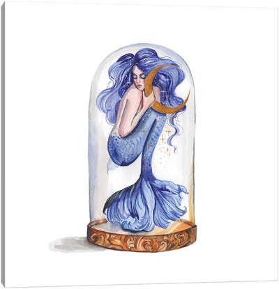 Blue Mermaid And Moon Canvas Art Print